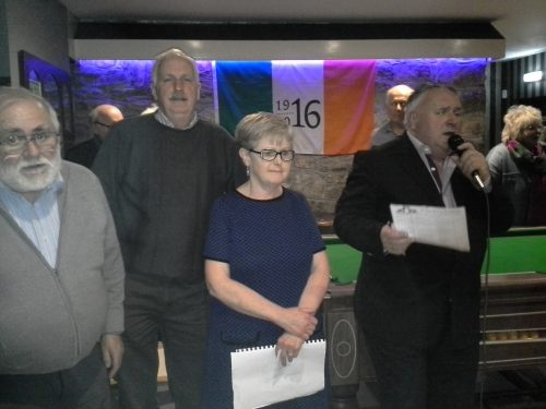 Pub Poetry 2016 L-R  2nd Mike Byrne, Percy French Hotel Henry Owens, 3rd, Franks Pub Suzie Spollen 1st, Beirnes Eugene Murphy, TD, MC,
