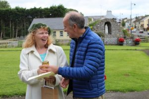 Bernadette Brudell, Strokestown, receiving 2nd Prize from Chairman Padraig Holmes