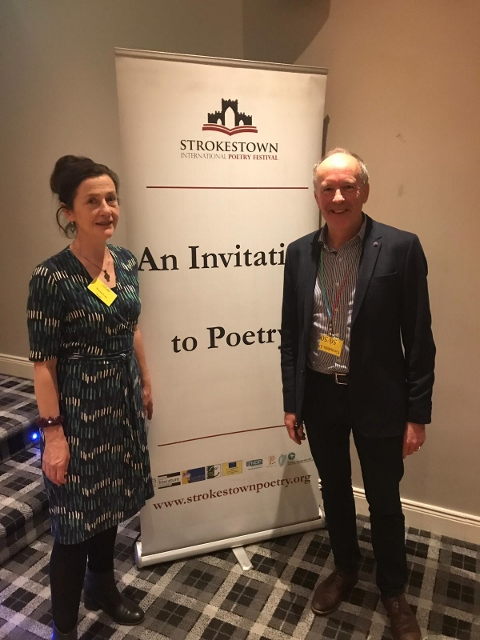 Martina Evans with Padraig Holmes (Chairman, Strokestown Poetry Festival)